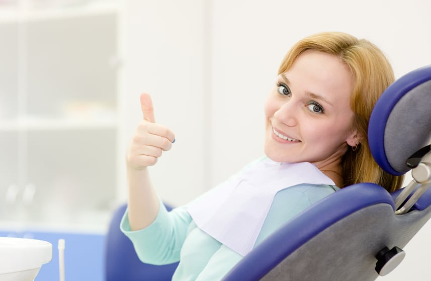 young woman in a dental chair